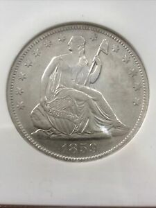 1859-O Seated Liberty Half 50c SS Republic NGC Looks BU
