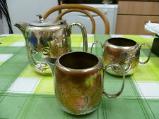 VINTAGE, THREE PIECE, FLORAL PATTERNED SILVER PLATED TEA SET. 3 PIECE TEA SET
