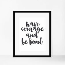 'Have Courage And Be Kind' Watercolour Black Disney Quote Art Print Cinderella