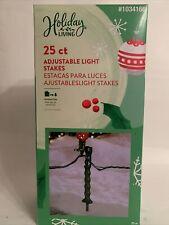 Holiday Living 25 ct Adjustable Light Stakes Green Yard Lawn Christmas Decor