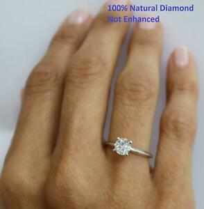 DIAMOND ENGAGEMENT RING F 1 CARAT ROUND SOLITAIRE 100% NATURAL I1 14K WHITE GOLD