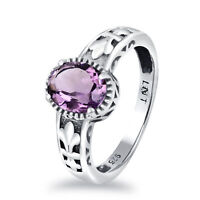 1.67 Carat Natural Purple Amethyst 925 Sterling Silver Halo Ring For Women -5845