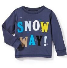 "Baby PEEK Sz 18 24 Month 'SNOW WAY"" Blue Holiday Christmas Tee NWT"