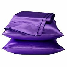 SET OF 2 NEW SOFT SILK FEEL SATIN HAIR CARE STANDARD PILLOWCASES- PURPLE