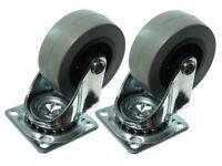 NEW 1 Pair Of 50Mm Plate Fix Single Caster Dolly Wheel Heavy Duty Swivel Castors