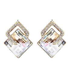 Brand New Sparkly Shiny White Austria Crystal Stud Earrings Women Gift Jewellery