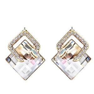 Rose Gold Plated Earrings White Austria Crystal Stud Earrings Women Jewellery