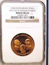 1928 First East to West Transatlantic Commemorative Medal Ngc Ms 63