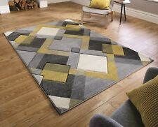 Nimbus Geometric Hand Carved Modern Funky Grey Yellow Ochre in various sizes