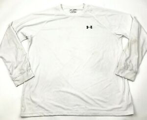 Under Armour Shirt Size Extra Large XL Loose Adult White Long Sleeve Tee Men's