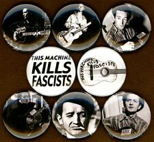 """Woody Guthrie 8 NEW 1"""" buttons pins badge this machine kills fascists folk"""