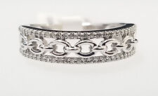 Infinity Bypass Pattern Right Fashion Ring Women 10k White Gold Real Diamond