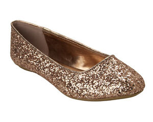WOMENS ROSE GOLD GLITTER WEDDING PARTY FLAT DOLLY BALLET PUMPS SHOES LADIES SIZE