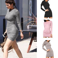 Womens Ladies Suedette Bodycon Mini Dress Long Sleeve Suede Round Neck Plain