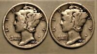 1934 P & D  Set of two Mercury Dimes  90% Silver in Good to Fine Condition