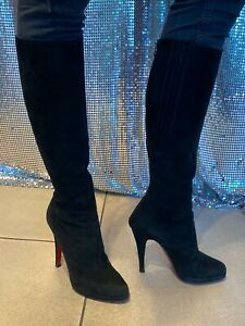 CHRISTIAN LOUBOUTIN Black Suede Knee-High Heels Boots Size:7