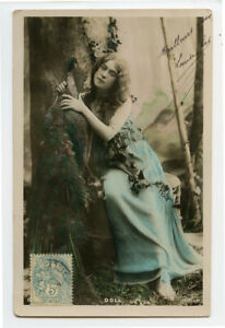 c 1907 French Glamour LONG HAIRED LADY Beauty w/ Peacock Doll photo postcard