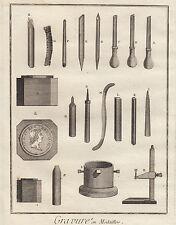Diderot e D'Alembert, 1778, utensili per incisione di medaglie, arti e mestieri