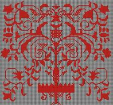 VTG SWEDISH Cross STitch Redwork Sampler Tree of Life Chart 10x10 14ct.Aida