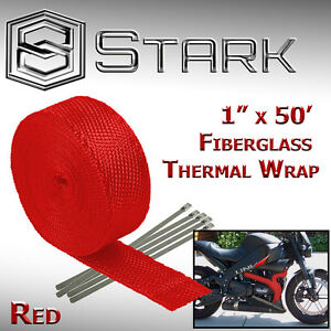 "1"" x 50' Ft Motorcycle Header Exhaust Heat Wrap Fiberglass Manifold Ties - Red"