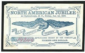 USA EXHIBITIONS N American Jubilee 1858 Original $1 Ticket {samwells-covers}MC64