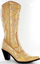NEW HELENS HEART GOLD SEQUIN COWBOY BOOTS SIZE 5, 6, 7, 8, 9, 10, 11, 12