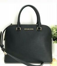 NWT Michael Kors Black Leather Cindy Large Dome Satchel Bag 38S9XCPS3L MSRP $298