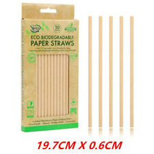 50 x Eco Biodegradable Straw Drinking Brown Paper Bamboo Straws Party Tableware