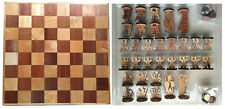 Hawaiian Monarchy Collector Vintage Wood Board Tiki Chess Pieces Checker Set Nb