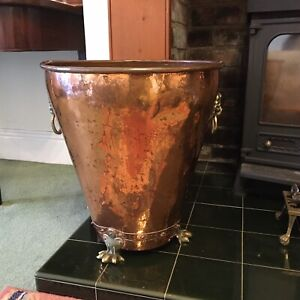 Large Riveted Copper & Brass Log Bucket Lion Head Handles & Lion Feet By Lombard