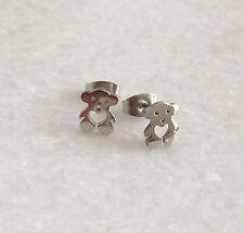 316L Surgical Stainless Steel Heart Teddy Bear Ear Studs Earrings