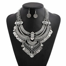 Pretty Women Vintage Bohemian Coin Chain Collar Choker Statement Bib Necklace UK