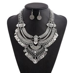 Pretty Women Vintage Bohemian Coin Chain Collar Choker Statement Bib Necklace UK