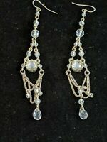 Vintage Estate Silver Tone Rhinestone Bezel Set Chandelier Earrings