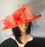 NIGEL RAYMENT ORANGE WEDDING ASCOT HAT  MOTHER OF THE BRIDE OCCASION FORMAL