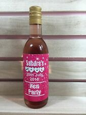 8 x Personalised Pink and White Hen Night Party Mini Wine Bottle Stickers Labels