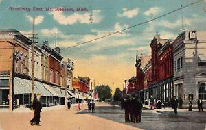Postcard Broadway East in Mt. Pleasant, Michigan~119080