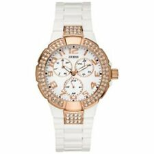 BRAND NEW AUTHENTIC GUESS WOMEN'S WHITE BRACELET ROSE GOLD WATCH OU13608L1T