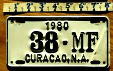 CURACAO License Plate Tag 1980  MOTORCYCLE - Low Shipping