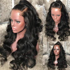 Silk Women Malaysian Human Hair Full Lace Wig Pre Plucked with Baby Hair Black