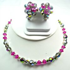 Vintage Hobe Sparkling Multicolor Necklace and Earrings