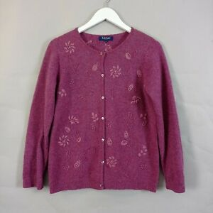 Tulchan Knit Cardigan Medium Pink Womens Lambswool Leaf Embroidery Button Jumper