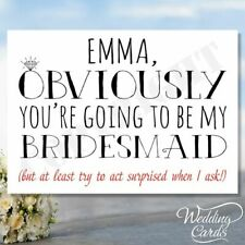 Will You Be My Bridesmaid Card Flower Girl Maid of Honour Wedding Personalised