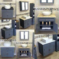 Grey Bathroom Vanity Cabinet  | Wall Hung Ceramic Sink Unit | Stone Worktop Inc
