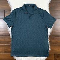 Theory Men's Size Large Heather Blue Willem Anemone Short Sleeve Polo Shirt