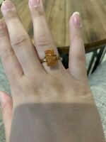 Orange Agate Ring Rose Gold Size 8.25 Plated