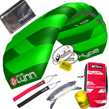 Peter Lynn Hype 1.9 Foil Power Stunt Kite 2 Line Control Strap Speed Wing Green