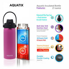 New Aquatix Pink Insulated FlipTop Sport Bottle 21 oz Pure Stainless Steel