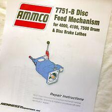 Ammco 7751 Crossfeed Mechanism Repair Manual Amp Parts Diagrams Data Sheet