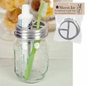 Primitive Rustic Country Mason Jar Toothbrush Holder Lid